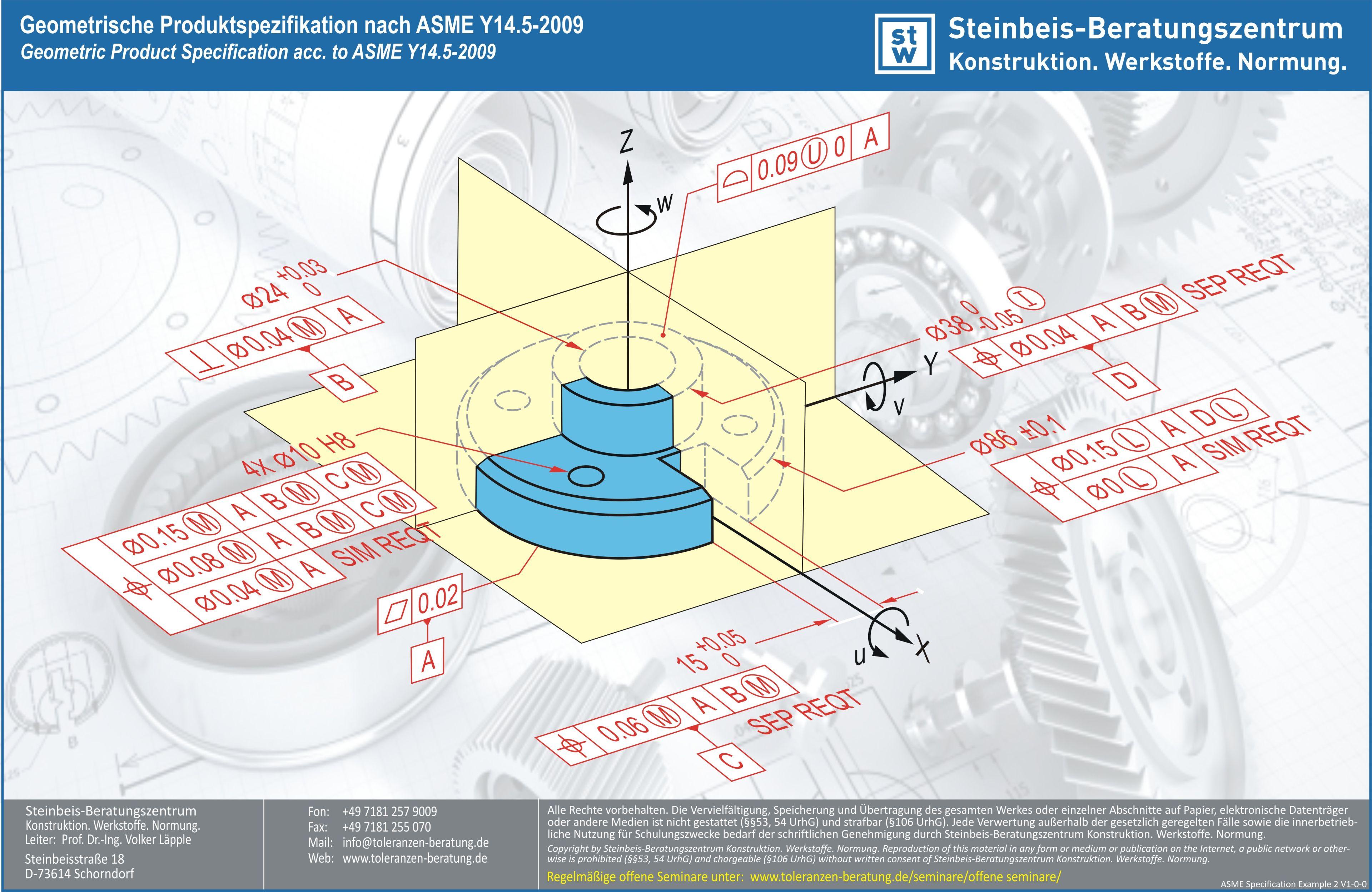 Geometrische Produktspezifikation Nach ASME Y14.5 2018 (Beispiel)
